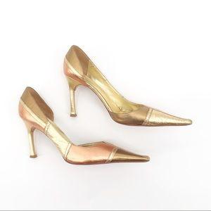 Sergio Zelcer Leather Gold Patchwork Heels S- 8